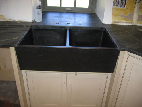 Soapstone Vessel Sink : Two compartment Slant Front Block Sink
